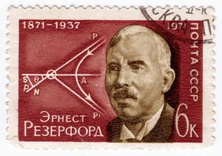 ernest: USSR - CIRCA 1971: stamp printed in USSR (now is Russia), Ernest Rutherford - New Zealand chemist and physicist, circa 1971