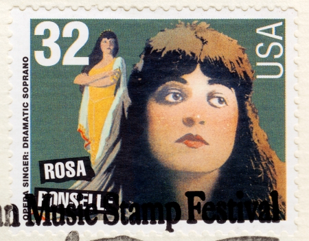 dominant color: USA - CIRCA 1997: Stamp printed in USA , American Music Stamp Festival, showing portrait of American singer Rosa Ponselle - operatic soprano, circa 1997
