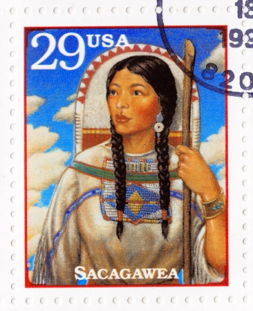 USA - CIRCA 1994 : Stamp printed in the USA with portrait Sacagawea ( too Sakakawea, Sacajawea ) ,was a Shoshone woman who accompanied Lewis and William Clark in their exploration of the Western USA, circa 1994 Stock Photo - 16425173