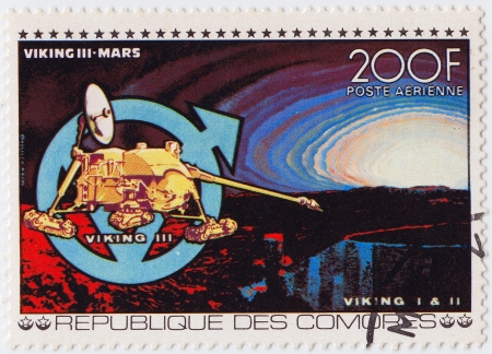 comores: COMORES - CIRCA 1980 : stamp printed in Comores shows Viking III space station NASA in Mars misson, circa 1980