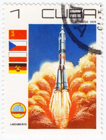 CUBA - CIRCA 1979 : stamp printed in Cuba shows starting the soviet space rocket Souz, circa 1979 Stock Photo - 16425196