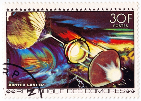 comores: COMORES - CIRCA 1980 : stamp printed in Comores shows Jupiter lander space station, circa 1980 Editorial
