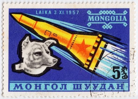 MONGOLIA - CIRCA 1980: stamp printed in Mongolia shows Laika is a first Dog-astronaut, circa 1980
