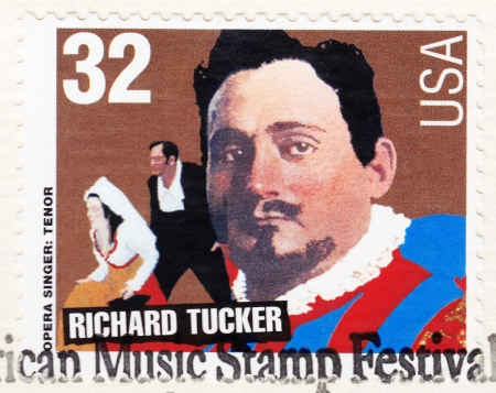 american music: USA - CIRCA 1997: Stamp printed in USA , American Music Stamp Festival, showing portrait of opera tenor singer Richard Tucker, circa 1997 Editorial