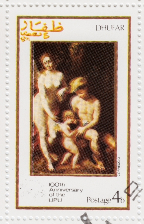 upu: DHUFAR - CIRCA 1974: stamp printed in Dhufar shows pic to painter Correggio of 100th Anniversary OF UPU ( Universal Postal Union ), circa 1974