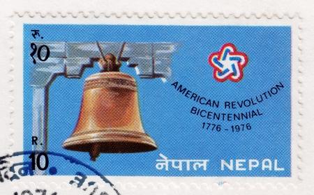 NEPAL - CIRCA 1976: Stamp printed in Nepal of American revolution bicentennial , circa 1976