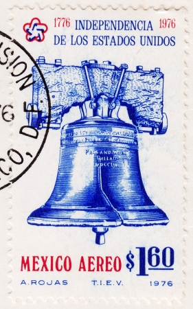 MEXICO - CIRCA 1976: Stamp printed in Mexico with Philadelphia Liberty Bell,  American revolution bicentennial , circa 1976