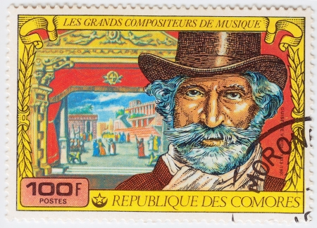 comores: COMORES - CIRCA 1977: Stamp printed in Comores shows Giuseppe Fortunino Francesco Verdi, Italian romantic composer mainly of opera, circa 1977