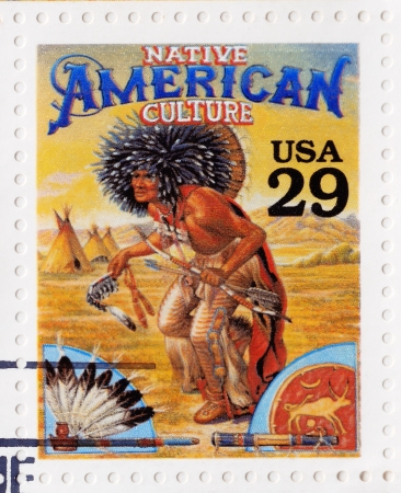 indian postal stamp: USA - CIRCA 1994 : Stamp printed in the USA shows Native American culture in the American Old West, circa 1994