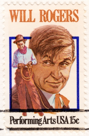 william penn: USA - CIRCA 1979 - Stamp printed in USA showing William Penn Adair Will Rogers  Cherokee cowboy, comedian, humorist, social commentator, vaudeville performer and actor, circa 1979