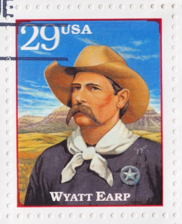 USA - CIRCA 1994 : Stamp printed in the USA shows Wyatt Berry Stapp Earp officer of the law in various Western frontier towns in the American Old West, circa 1994 Stock Photo - 16425155