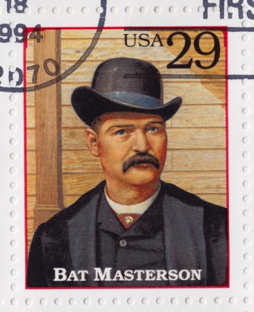 lawman: USA - CIRCA 1994   Stamp printed in the USA shows William Barclay Bat Masterson  buffalo hunter, scout, lawman in the American Old West, circa 1994