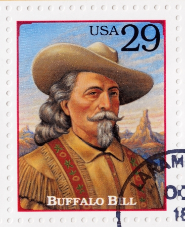 showman: USA - CIRCA 1994   Stamp printed in the USA shows portrait of the Buffalo Bill  real name William Frederick Cody  , american soldier, bison hunter and showman, circa 1994