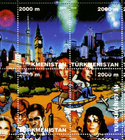 TURKMENISTAN - CIRCA 2000  stamp printed in Turkmenistan shows american stars Gillian Anderson  up L , David Duchovny  up R , Madonna  D L , Mike Myers, Chris Isaak, Michael Jackson  D R , circa 2000