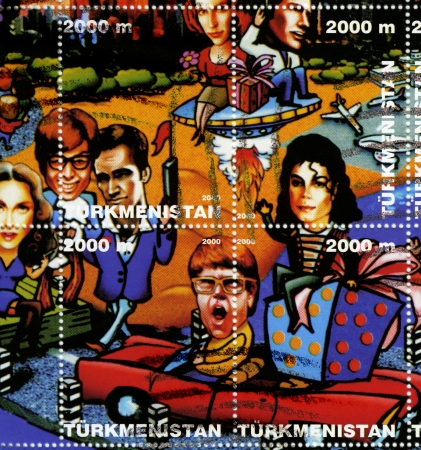 TURKMENISTAN-CIRCA 2000  stamp printed in Turkmenistan shows USA stars Gillian Anderson  upL  David Duchovny  upR  Madonna  L  Mike Myers Chris Isaak Michael Jackson  R , Elton John  DC , circa 2000