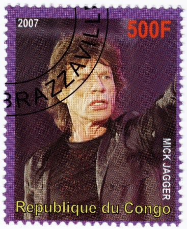 Congo - alrededor de 2007: Sello impreso en el Congo con la cantante estadounidense cantante Mick Jagger de la banda de música de los Rolling Stones, alrededor del año 2007