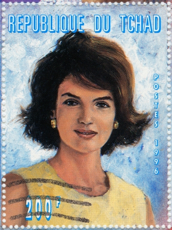kennedy: TCHAD - CIRCA 1996 : Stamp printed in Tchad shows Jacqueline Kennedy Onassis, circa 1996
