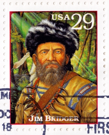 explored: USA - CIRCA 1994 : Stamp printed in USA with James Jim Bridger  - one among the foremost mountain men, trappers, scouts and guides who explored and trapped the Western United States, circa 1994 Editorial
