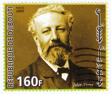 DJIBOUTI - CIRCA 2005: stamp printed in Germany shows Jules Verne, circa 2005 Stock Photo - 16507521