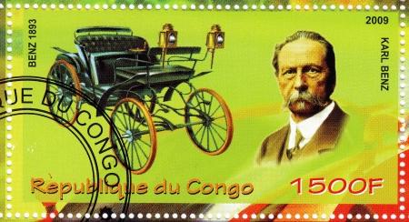 benz: CONGO - CIRCA 2009: stamp printed in Congo showing Karl Benz vs her car, circa 2009
