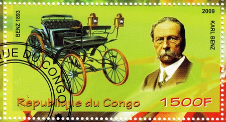 karl: CONGO - CIRCA 2009: stamp printed in Congo showing Karl Benz vs her car, circa 2009