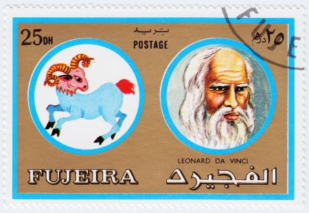 FUJEIRA - CIRCA 1971 : stamp printed in Fujeira, Zodiac Signs of Famous People  shows artist and genius Leonardo da Vinci and Aries the ram, circa 1971