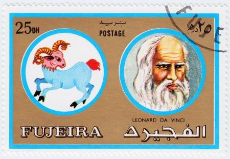 fujeira: FUJEIRA - CIRCA 1971 : stamp printed in Fujeira, Zodiac Signs of Famous People  shows artist and genius Leonardo da Vinci and Aries the ram, circa 1971