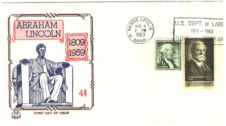 16s: vintage USA envelope 16s president of The USA Abraham Lincoln and stamps George Washington with Charles Evans Hughes