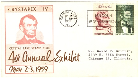 16s: vintage USA envelope with 16s president of The USA Abraham Lincoln