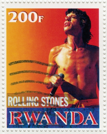 postmarked: RWANDA CIRCA 2000 : Stamp printed in Rwanda with singer Mick Jagger leader music band of Rolling Stones, circa 2000