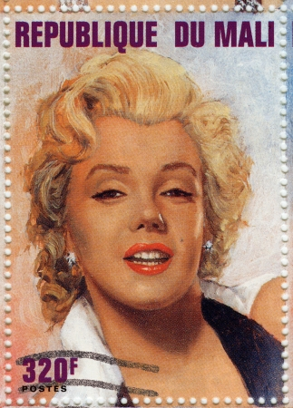 marilyn: MALI - CIRCA 1996 : stamp printed in Manli showing Marilyn Monroe popular actress in 1960s, circa 1996
