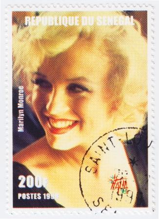 SENEGAL - CIRCA 1998 : Stamp printed in Senegal with popular 1960s American actress Marilyn Monroe, circa 1998