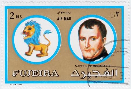 fujeira: FUJEIRA - CIRCA 1971 : stamp printed in Fujeira, Zodiac Signs of Famous People  shows Napoleon Bonaparte and Leo the lion, circa 1971