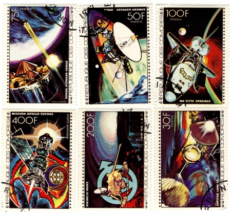 old stamps of Republic of Comores with the space theme