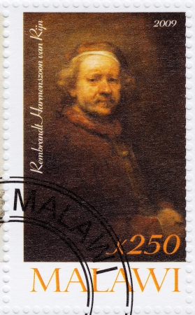 rembrandt: MALAWI - CIRCA 2009: stamp printed in Malawi showing portrait of great renaissance artist Rembrandt Harmenszoon van Rijn, circa 2009 Editorial