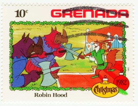 GRENADA - CIRCA 1982 : stamp printed in Grenada shows Robin Hood cartoon at Christmas, circa 1982