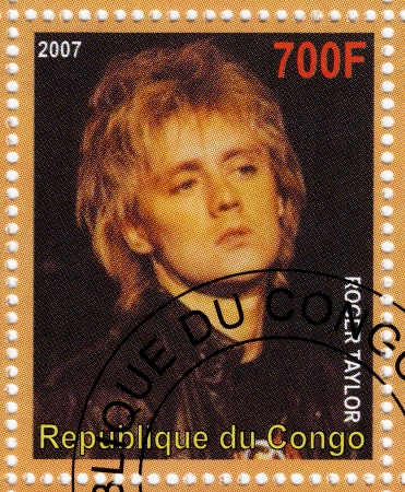 taylor: CONGO - CIRCA 2007 : stamp printed in Congo with Roger Taylor from music group Queen, circa 2007