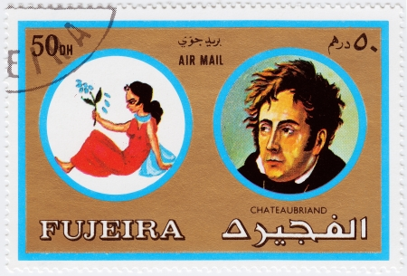 fujeira: FUJEIRA - CIRCA 1971 : stamp printed in Fujeira, Zodiac Signs of Famous People  shows Virgo and the French writer, politician and diplomat, Francois Chateaubriand, circa 1971  Editorial