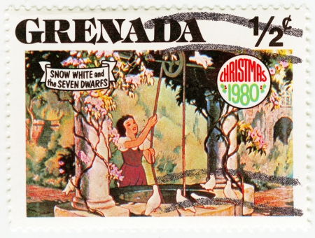 seven dwarfs: GRENADA - CIRCA 1980 : stamp printed in Grenada shows Snow White and The Seven Dwarfs cartoon at Christmas, circa 1980 Editorial