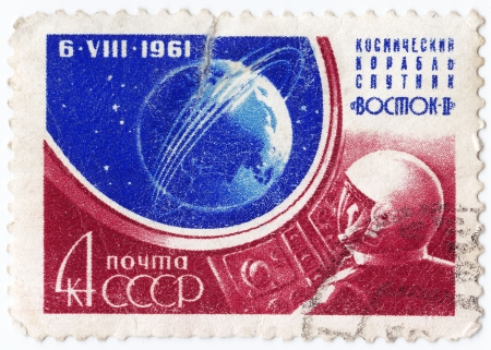 USSR - CIRCA 1961 : stamp printed in USSR commemorating Vostok - 2 space mission, circa 1961 Stock Photo - 16507426