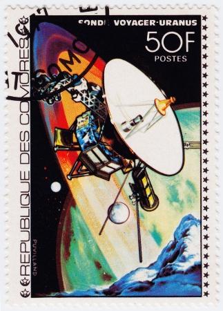 comores: COMORES - CIRCA 1980   stamp printed in Comores shows Voyager space station NASA in Uranus mission, circa 1980