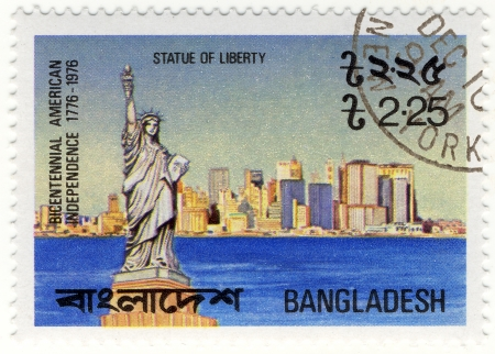 vintage stamp with NY Statue of Liberty, Bicentemnnal of USA in 1976 year
