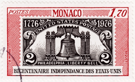 united states postal service: MONACO - CIRCA 1976  stamp printed in Monaco shows image of the Liberty Bell in Philadelphia, series, circa 1976 Editorial