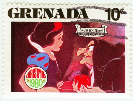 dwarfs: GRENADA - CIRCA 1980   stamp printed in Grenada shows Snow White and The Seven Dwarfs cartoon at Christmas, circa 1980