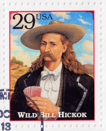 USA - CIRCA 1994   Stamp printed in the USA shows portrait of the Wild Bill Hickok  real name James Butler Hickok   , was a cool figure in the American Old West - gunfighter, scout,  lawman, circa 1994 Stock Photo - 16507427