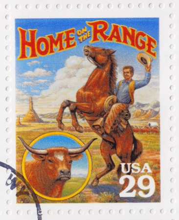 USA - CIRCA 1994   Stamp printed in the USA shows Home on the Range culture in the American Old West, circa 1994 Stock Photo - 16507454