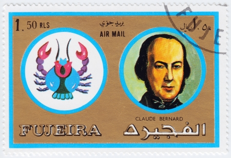 physiologist: FUJEIRA - CIRCA 1971   stamp printed in Fujeira, Zodiac Signs of Famous People  shows Claude Bernand is an French physiologist, Cancer the crab, circa 1971