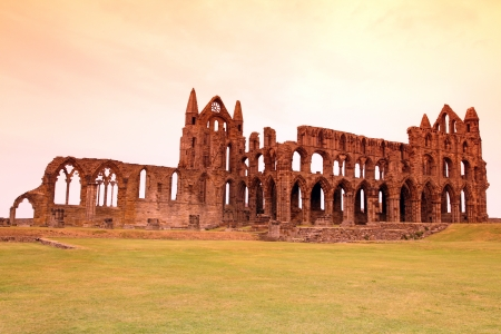 Whitby Abbey castle, ruined Benedictine abbey sited on Whitbys East Cliff in North Yorkshire on the north-east coast of England, UK