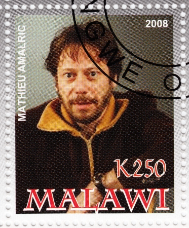 MALAWI - CIRCA 2008  stamp printed in Malawi showing Mathieu Amalric  is a three-time Cesar Award winning French actor and film director, circa 2008 Stock Photo - 16586014