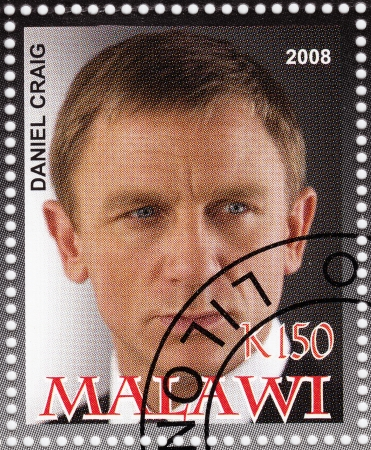 craig: MALAWI - CIRCA 2008  stamp printed in Malawi with Daniel Craig - English actor and film producer,sixth actor to portray the fictional secret agent James Bond, circa 2008 Editorial